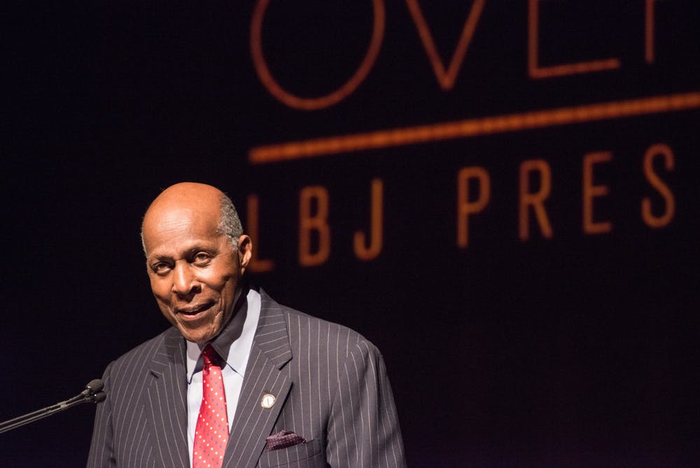 <p>Civil rights activist Vernon Jordan introduces former President Bill Clinton before an address at the Civil Rights Summit on April 9, 2014, at the LBJ Presidential Library in Austin, Texas. Jordan, 85, died at his home in Washington, D.C. on March 1.</p>