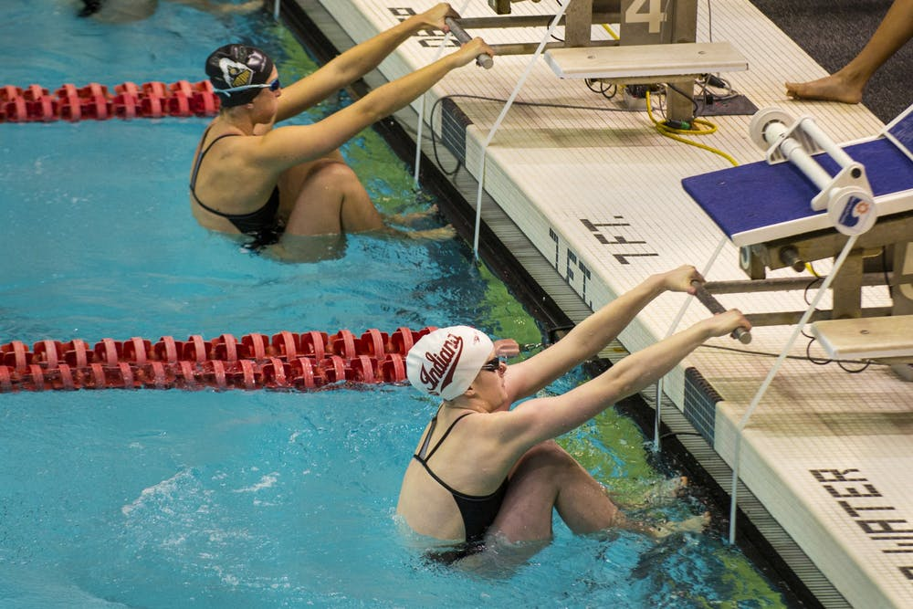 <p>Then-junior Grace Haskett gets in starting position Jan. 25, 2020, at the Counsilman-Billingsley Aquatics Center. The women&#x27;s and men&#x27;s IU swimming Big Ten Championship will be from Feb. 23-27 and March 3-6, and the IU diving Big Ten Championship will be from Feb. 25-27. </p>