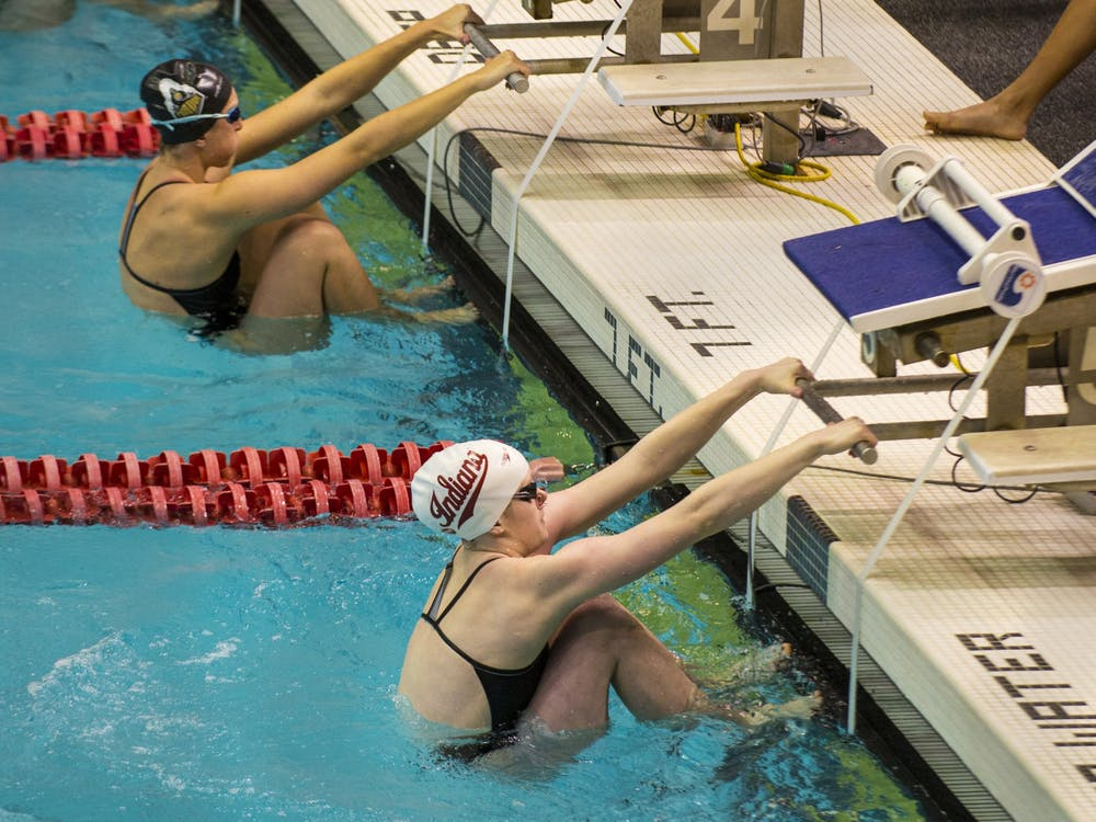 Then-junior Grace Haskett gets in starting position Jan. 25, 2020, at the Counsilman-Billingsley Aquatics Center. The women's and men's IU swimming Big Ten Championship will be from Feb. 23-27 and March 3-6, and the IU diving Big Ten Championship will be from Feb. 25-27.