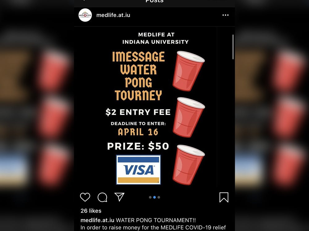 An instagram post displays information for MEDLIFE at IU's iMessage water pong tournament. The tournament raised funds for the MEDLIFE COVID-19 relief fund.