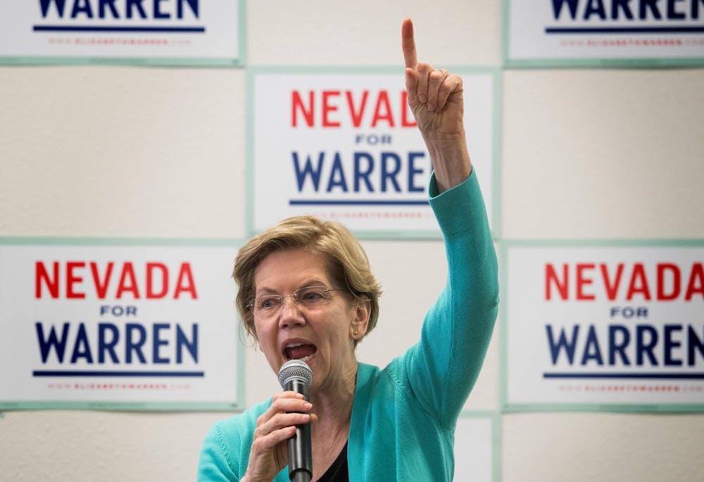 <p>Sen. Elizabeth Warren, D-Mass., speaks to supporters during a visit to her field office Feb. 20 in Las Vegas. </p>