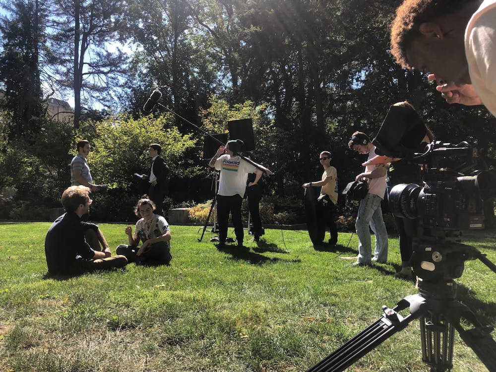 <p>Students film the movie &quot;Graduation&quot; directed by Clarisse Gamblin on Sept. 14, 2019. The movie will be shown at IU&#x27;s student film festival Montage on Thursday.</p>