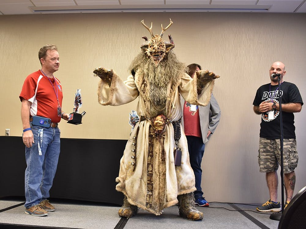 Billy Patterson dresses in a Krampus costume he made by hand. Patterson won the best villain portion of the Adult Cosplay Contest at the Indiana Toy and Comic Expo on Sunday.