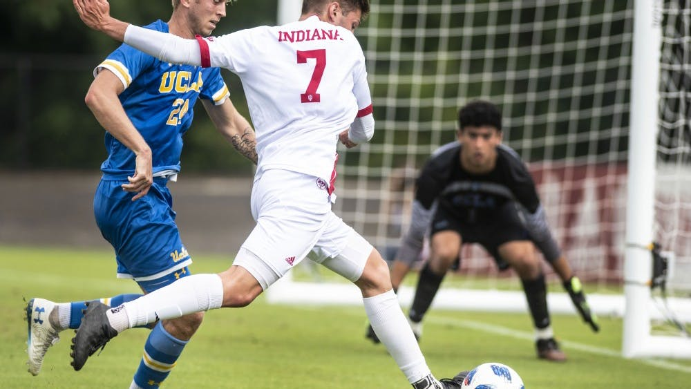Freshman Victor Bezerra attempts a shot against the University of Californa at Los Angeles on Sept. 2 at Bill Armstrong Stadium. IU men's soccer beat the University of Denver 2-1 on Friday in South Bend, Indiana.