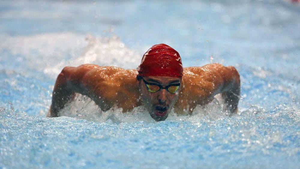 Then-sophomore Vini Lanza, now a senior, competes in the men's 200-yard butterfly Jan. 27, 2017. The men's swimming and diving team is in fourth in the overall standings after the first night of the NCAA Men's Swimming and Diving Championships in Austin, Texas.