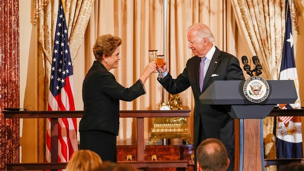 Brazilian President Dilma Rousseff and United States Vice-President Joe Biden toast during a United States State Department luncheon on Tuesday.