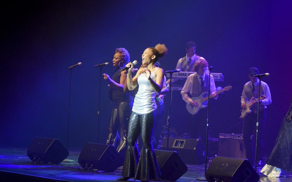 """Aretha Franklin's """"Respect"""" was performed by the IU Soul Revue during the Potpourri of the Arts performance Saturday evening in the IU Auditorium. The 2-hour event featured various groups including the African American Choral Ensemble and the African American Dance Company."""