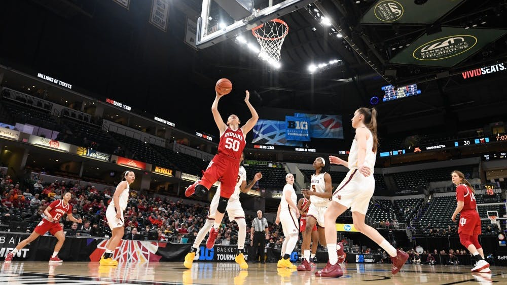 Junior forward Brenna Wise makes a layup March 7 during IU's second round Big Ten Tournament game against Minnesota in Bankers Life Fieldhouse. Wise scored 19 points in IU's 66-58 win over Minnesota.