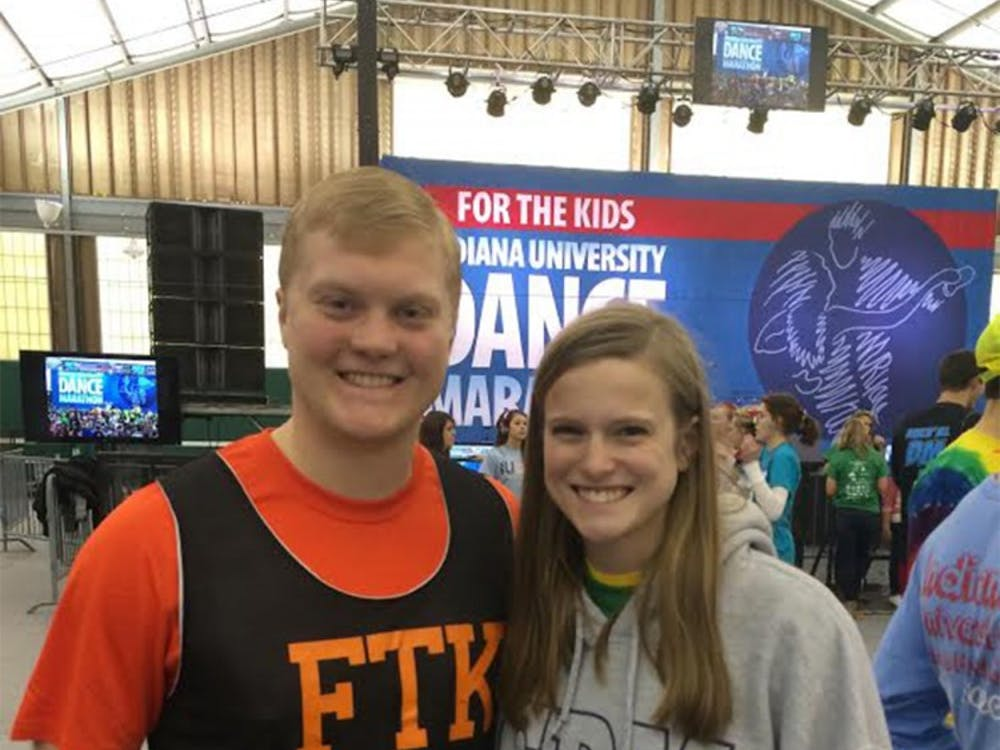 Nicholas Wolfe and his sister Samantha Wolfe pose for a picture during the Indiana University Dance Marathon at the IU Tennis Center. Nicholas Wolfe died Thursday, September 3rd.