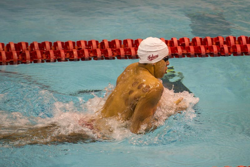 Senior Mohamed Samy swims Jan. 25 in the 200-yard breaststroke in IU's meet against Purdue at the Councilman-Billingsley Aquatics Center. The team will compete in the Big Ten Championships Wednesday through Saturday.