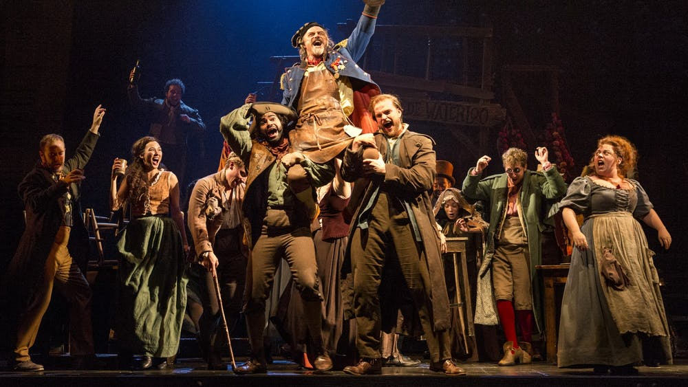 """""""Les Misérables"""" cast members perform during the """"Master of the House"""" scene. """"Les Misérables"""" will be performed Feb 4-9 at the IU Auditorium."""