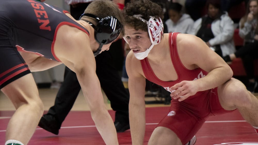 Redshirt junior Liam Cronin wrestles Nebraska redshirt freshman Alex Thomsen Feb. 9 at Wilkinson Hall. IU lost to Nebraska 6-35.
