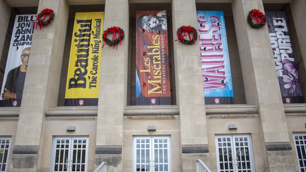 Signs for 2019-20 IU Auditorium series hang Jan. 9 outside the Auditorium. All IU Auditorium and Cinema events taking place through May 7 will be postponed or canceled ,according to an announcement sent  by the Auditorium on Tuesday.