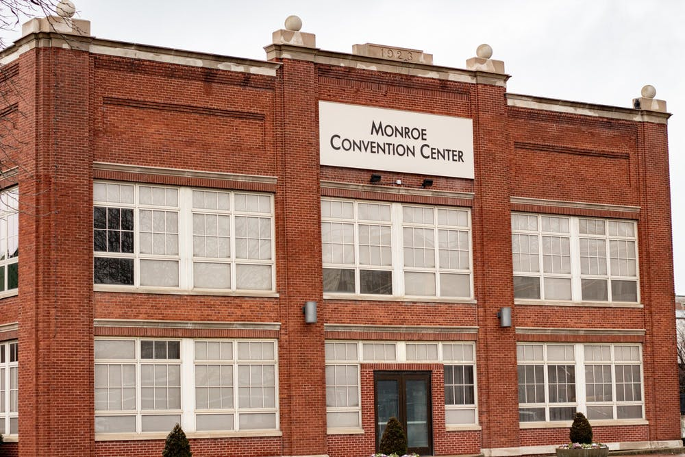 <p>The Monroe County Convention Center located at 302 S. College Ave. It is one of the centers in Monroe County where the COVID-19 vaccine is being distributed.</p>