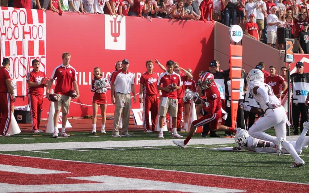 Quarterback Zander Diamont sprints into the endzone for a Hoosier touchdown.