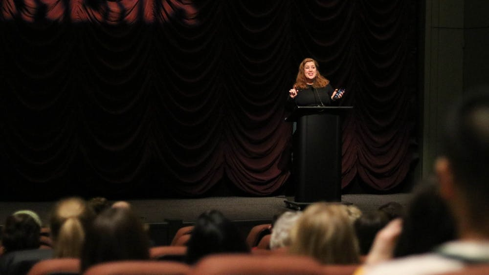 """Director Jeanie Finlay introduces her film """"Seahorse"""" at a screening Feb. 12 at the IU Cinema. The documentary follows the journey of gay transgender man, Freddy McConnell, through his pregnancy and the birth of his child."""
