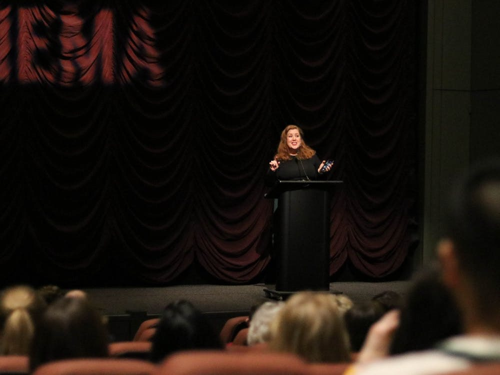 "Director Jeanie Finlay introduces her film ""Seahorse"" at a screening Feb. 12 at the IU Cinema. The documentary follows the journey of gay transgender man, Freddy McConnell, through his pregnancy and the birth of his child."