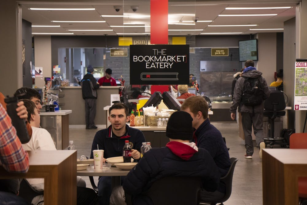 <p>Students converse Feb. 12 at the Bookmarket Eatery at Herman B Wells Library. Freddie Bitsoie, owner of FJBits Concepts, is offering a cooking demonstration as part of Indiana Remixed on Feb. 19 at Wells Library.</p>