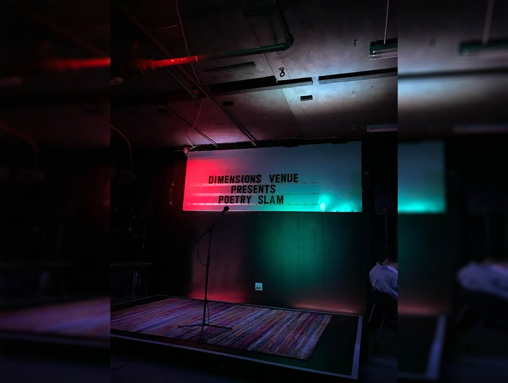 The stage at the Artisan Alleys'  Dimensions Gallery where poets performed on July 29. Bloomington arts nonprofit Artisan Alley hosted a poetry slam highlighting poetry about the COVID-19 pandemic Thursday night.