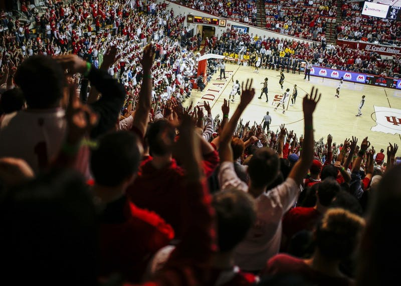 The Indiana student section reacts to a shot during the Hoosiers' game against the Iowa Hawkeyes in Simon Skjodt Assembly Hall on Dec. 4. The 2018 version of Hoosier Hysteria takes place Saturday afternoon.