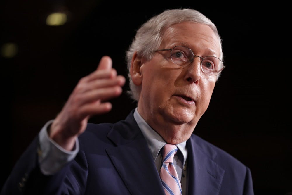 <p>Senate Majority Leader Mitch McConnell reiterated Monday that he is bound by Senate rules to take up articles of impeachment if they are presented by the House.</p>