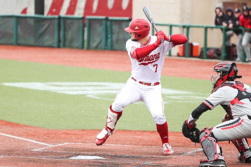 <p>Outfielder Ethan Vecrumba bats March 11 during a game against the University of Cincinnati at Bart Kaufman Field. Vecrumba started 10 games for IU last season.</p>