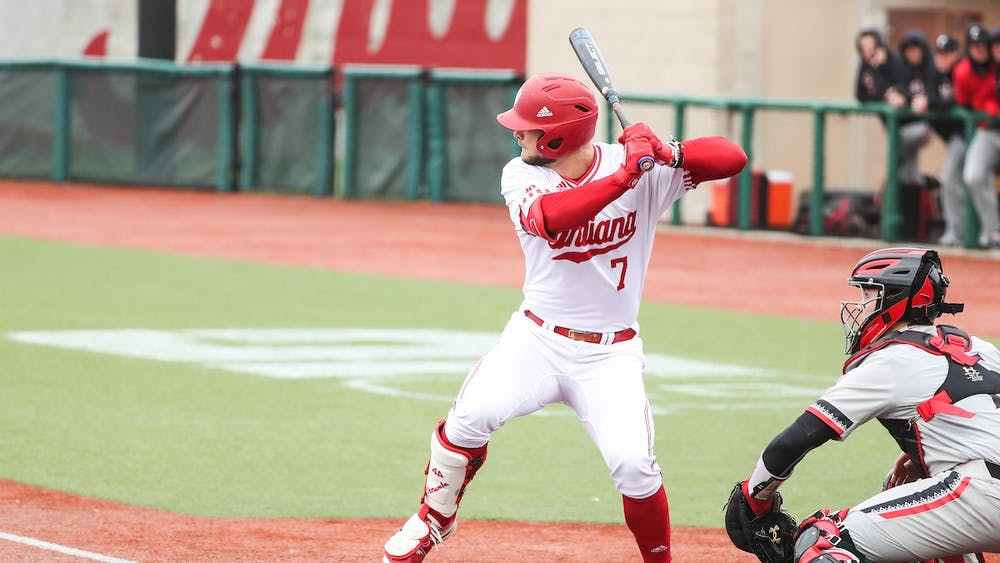 Outfielder Ethan Vecrumba bats March 11 during a game against the University of Cincinnati at Bart Kaufman Field. Vecrumba started 10 games for IU last season.
