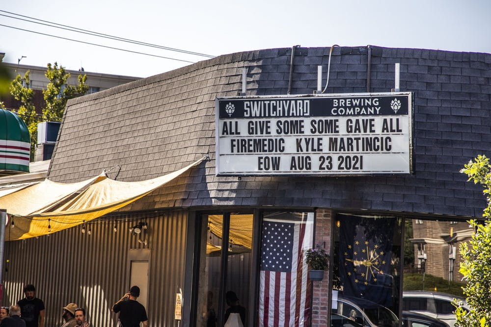 <p>Patrons visit Switchyard Brewing Company Sept. 1, 2021, at 419 N Walnut St.</p>