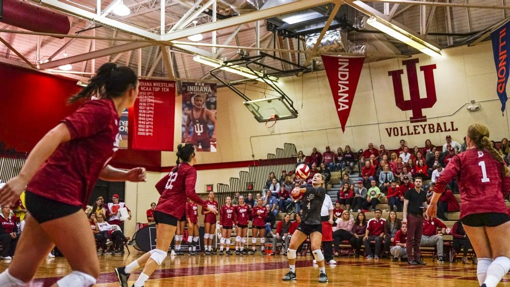 Sophomore defensive specialist Bayli Lebo bumps the ball during IU's game against Rutgers on Oct. 13 at University Gym. IU lost in five sets at No. 13 Purdue on Saturday.