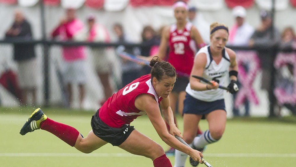 Then-junior Audra Heilman takes the ball downfield during IU's match against Penn State on Sept. 29, 203 at the IU Field Hockey Complex.