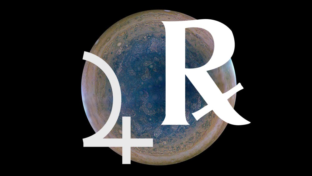 Jupiter, the left symbol, retrogrades, or appears to orbit backward, for four months at a time every 13 months. Jupiter will retrograde in Sagittarius from April 10 to Aug. 11.