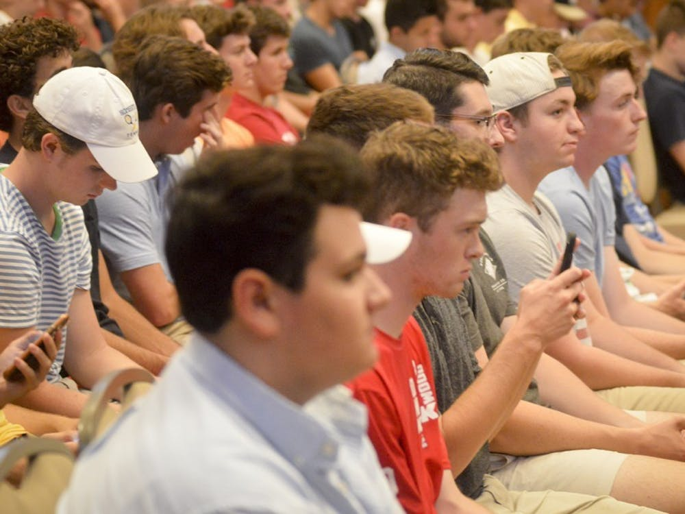 Freshmen prepare to register for fraternity rush during the Greek Orientation Seminar on Sept. 6, 2016, at Alumni Hall in the Indiana Memorial Union. Changes to IU's Greek Organization Agreement have delayed some chapters from signing, disrupting their operations and events.