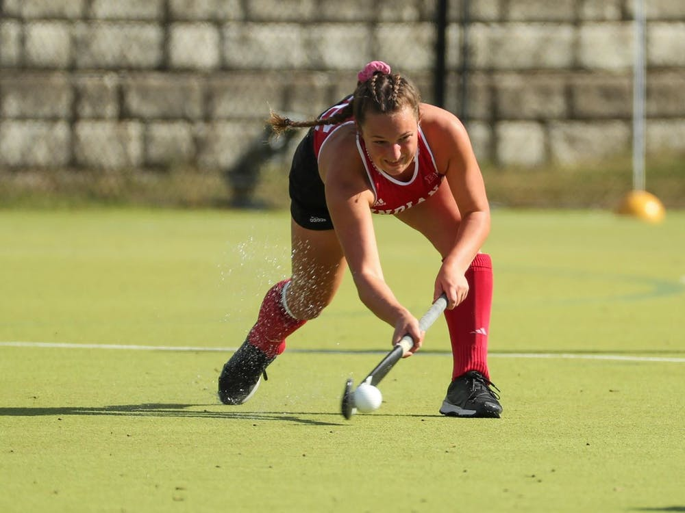 Then-sophomore midfielder Mary Kate Kesler hits the ball Oct. 18, 2019, at the IU Field Hockey Complex. Rutgers University defeated Indiana 1-0 Oct. 3, 2021, in Piscataway, New Jersey.