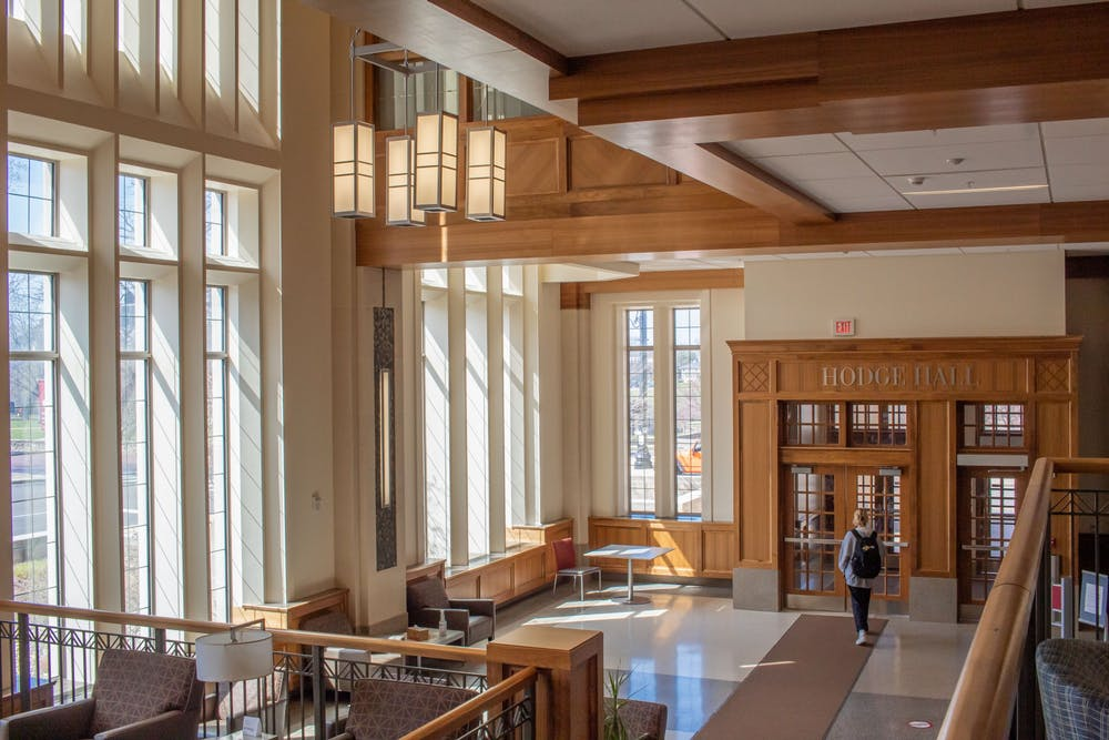 <p>A student walks through Hodge Hall on Tuesday. The Kelley School of Business and the Jacobs School of Music will receive a total of $1.7 million in grants from the Conrad Prebys Foundation to be given to students from underrepresented communities.</p><p><br/></p>