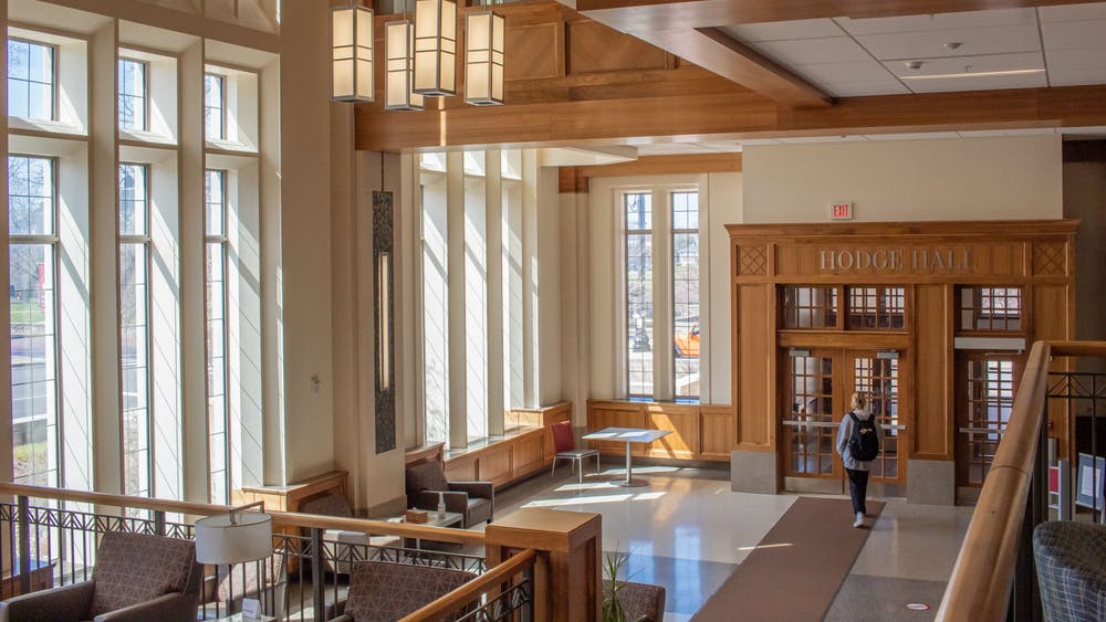 A student walks through Hodge Hall on Tuesday. The Kelley School of Business and the Jacobs School of Music will receive a total of $1.7 million in grants from the Conrad Prebys Foundation to be given to students from underrepresented communities.