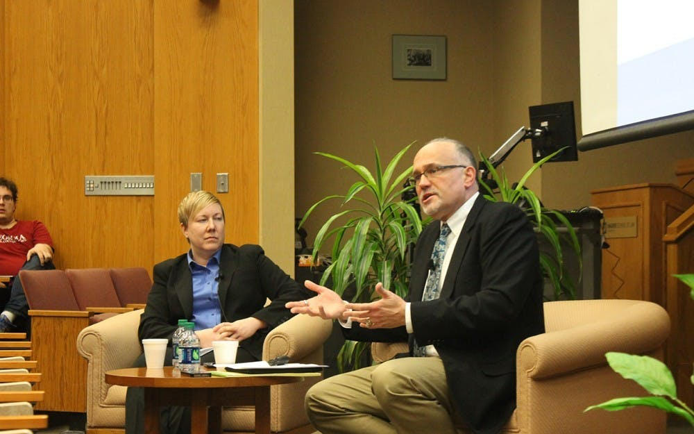 """<p>Steve Sanders, associate professor in law at IU, moderates a discussion Feb. 15, 2017, in the Maurer School of Law. Sanders received notice Sept. 29 that someone hired an Indianapolis law firm to file a public records request for his emails, according to a post made by <a href=""""https://medium.com/@stevesan/ive-been-looking-into-iu-s-presidential-search-and-now-a-law-firm-is-demanding-my-email-c1ba151404f8"""" target="""""""">Sanders</a>.</p>"""