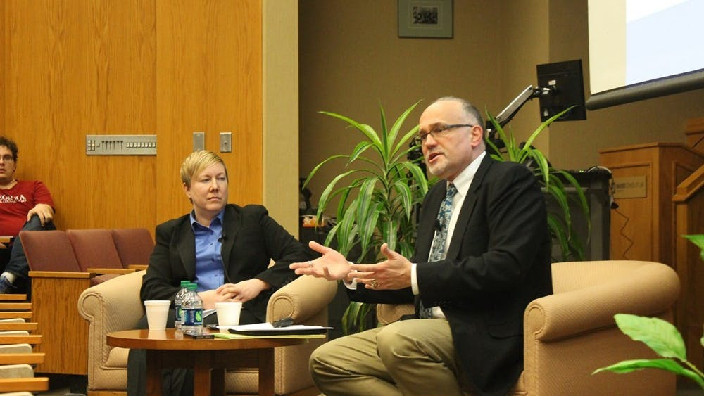 Steve Sanders, associate professor in law at IU, moderates a discussion Feb. 15, 2017, in the Maurer School of Law. Sanders received notice Sept. 29 that someone hired an Indianapolis law firm to file a public records request for his emails, according to a post made by Sanders.