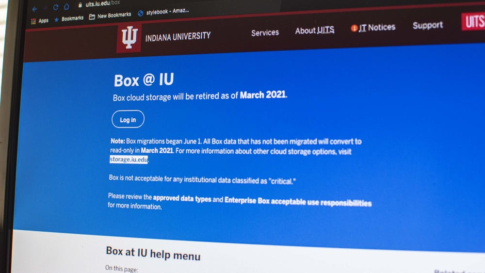 A message explains that IU will stop using Box cloud storage in March 2021. Box is raising its prices and ending its unlimited storage offering.
