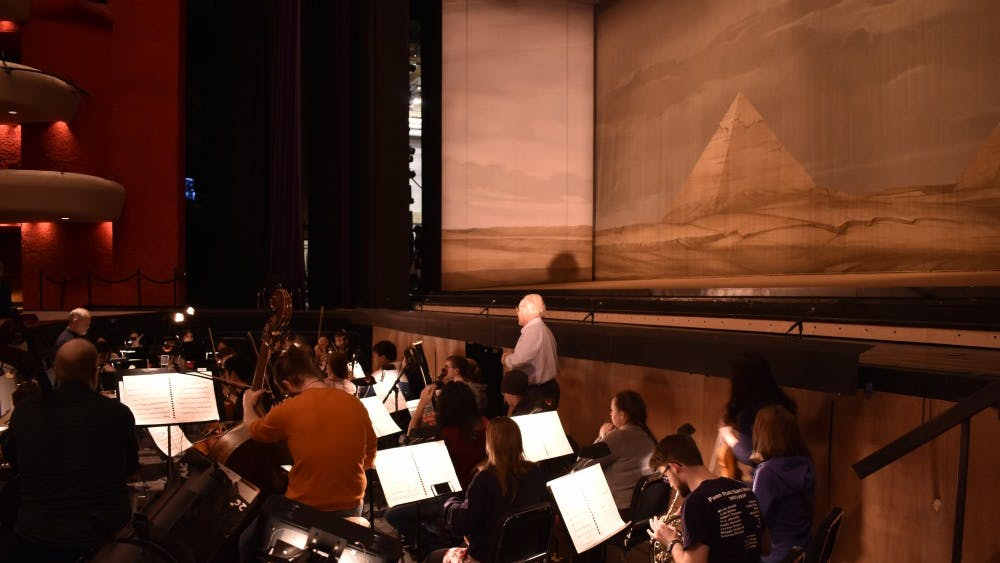 The pit orchestra rehearses for Giulio Cesare. The opera is coming to the Musical Arts Center for performances Feb. 1, 2, 8 and 9.