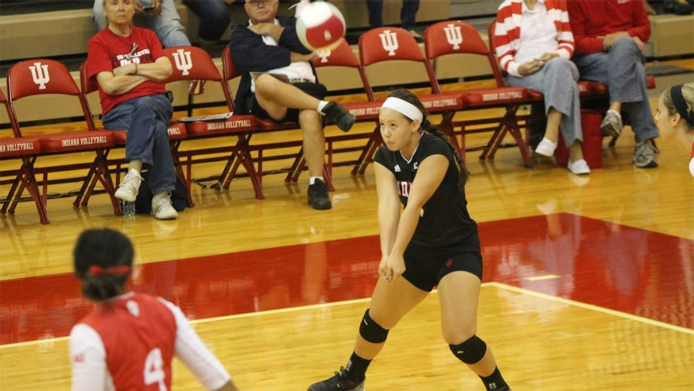 Senior defensive specialist Courtney Harnish bumps the ball during the Hoosiers' game against Bowling Green on Aug. 28. Harnish is the 7th IU players to reach 1,000 kills.
