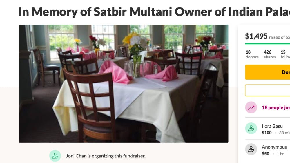 The website page for a GoFundMe in honor of Satbir Multani, 53, the owner of Indian Palace, is pictured. $1,495 had been raised as of 8:21 p.m. April 16.