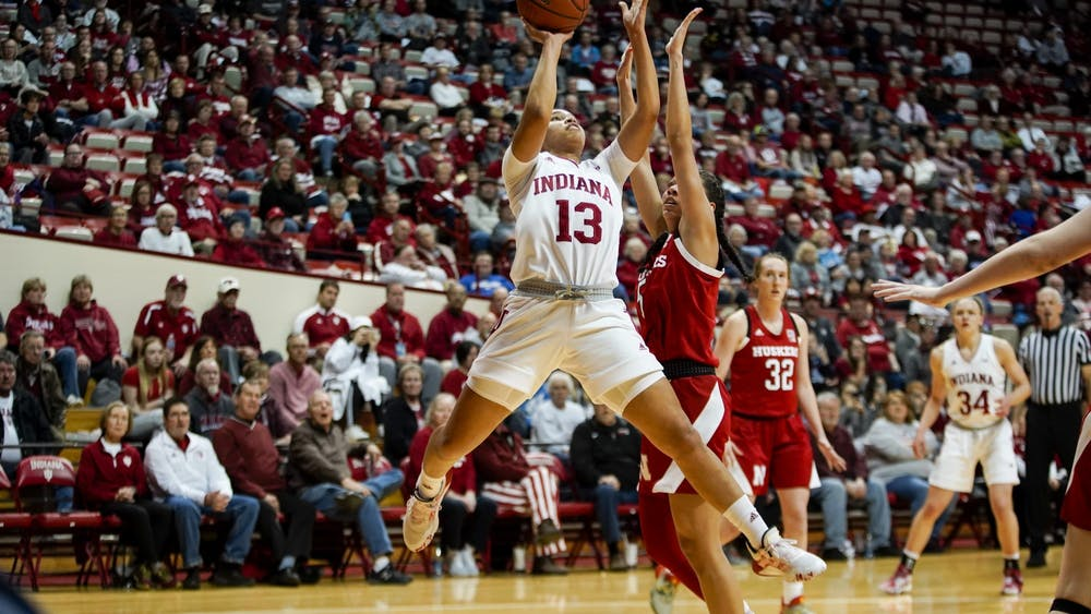 Junior Jaelynn Penn attempts a shot Feb. 27 in Simon Skjodt Assembly Hall. IU will compete in the Big Ten Championships at 2:30 p.m. March 6 in Indianapolis.
