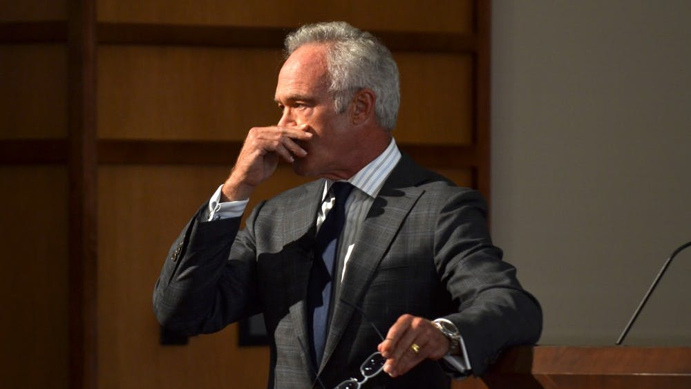 Scott Pelley gets emotional Sept. 10 at his keynote address celebrating the opening of the Arnolt Center for Investigative Journalism in Presidents Hall in Franklin Hall.  Pelley recounted events he has covered in his career, including being at ground zero during the events of 9/11.
