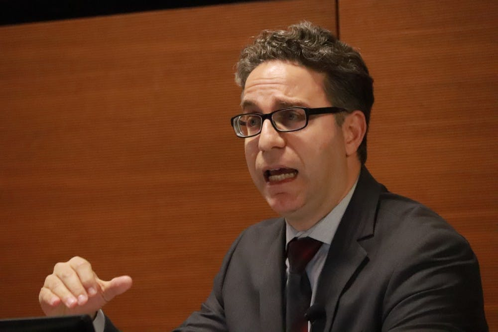 <p>Jamil Dakwar, director of the American Civil Liberties Union's Human Rights Program, talks Nov. 7 in Shreve Auditorium. The public talk discussed human rights, censorship and advocacy among Palestinians under Israeli control.</p>
