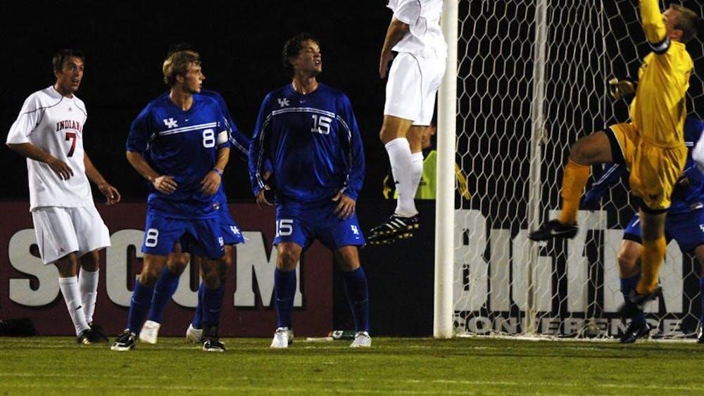 Dan Williams goes to save an IU corner kick at the IU vs Kentucky soccer game at Bill Armstrong stadium Tuesday evening.