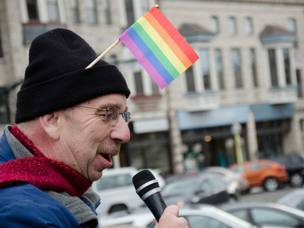 """Doug Bauder, director of the LGBTQ+ Culture Center, speaks to the crowd gathered for the Rally for Marriage Equality in 2013 on the Monroe County Courthouse Square. Bauder spoke about his grandson who defended equal rights in one of his classes. """"If a 7-year-old can get it, I'm hoping some Supreme Court justices can get it,"""" Bauder said."""