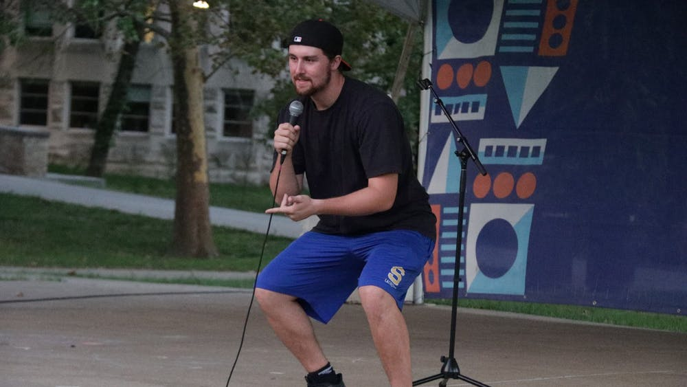 IU junior James Vogt gives a set during a comedy open mic night Sept. 27, 2021, in Dunn Meadow. Vogt was one of two student comedians who performed.