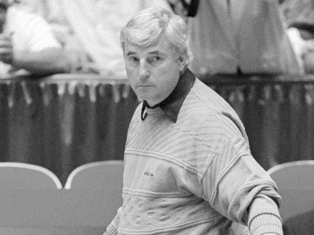 Former IU basketball coach Bob Knight watches his team practice in 1992 during the NCAA West Regional in Albuquerque, New Mexico. Knight talked with Gene Keady, former Purdue basketball coach, Sunday afternoon at the Elliott Hall of Music on the Purdue campus.