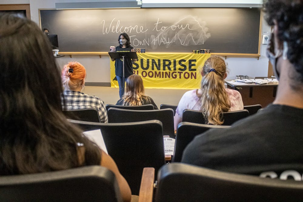 <p>Ph.D. candidate Anushka Sen speaks during Sunrise Bloomington's town hall Sept. 8, 2021, at the Lee Norvelle Theatre and Drama Center. The group launched a campaign to promote a shift from fossil fuels at IU.</p>