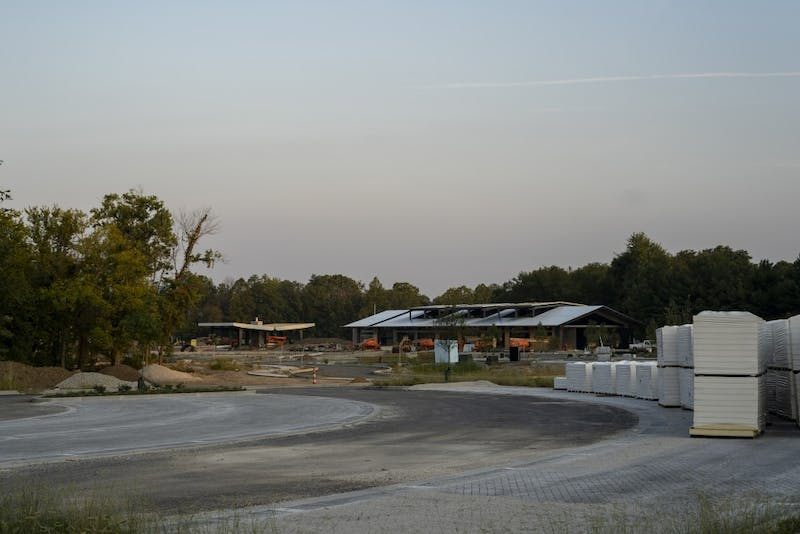 The Switchyard Park is under construction Sept. 11 on South Rogers Street. A skate park is being built at the site, among other attractions.